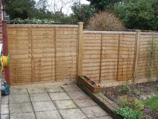 Lap panel fence with gravel boards